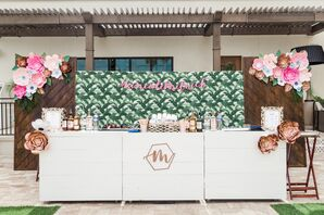 Rustic Wood Bar with Bright Paper Flowers