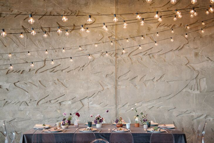 Intimate Reception Table with Ikebana Centerpieces and String Lights