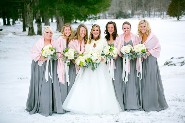30f2d80a2bef9 Graphite Gray Bridesmaids Dresses with Blush Shawl