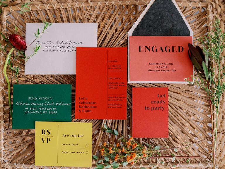 colorful red, yellow and green invitation suite