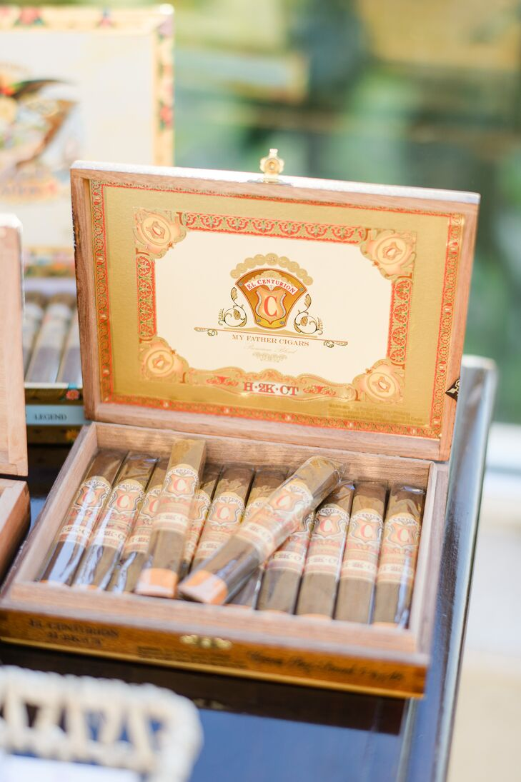 """""""My family is in the cigar business, so we had a cigar lounge area—opposite the bar—with big leather furniture and a selection of cigars,"""" Nicole says."""
