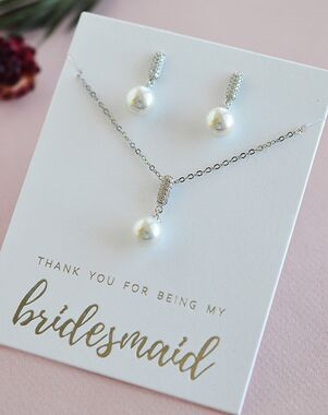 Dareth Colburn Desiree Pearl Drop Bridesmaid Jewelry Set (JS-1701-BR) Wedding Necklace photo