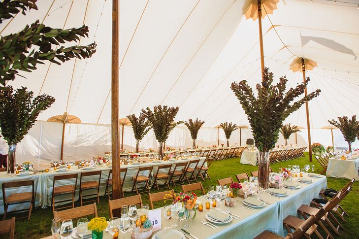 Reception Tent with Long Dining Tables