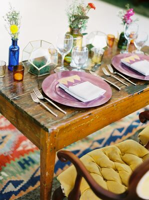 Place setting with Purple Plates on Vintage Table