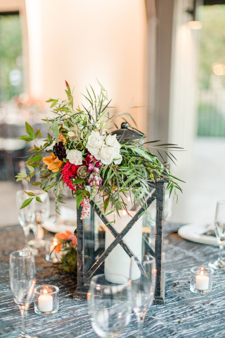 Rustic-Elegant Flower and Lantern Centerpieces on Graphic Linens