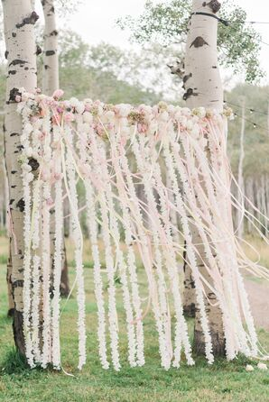 Whimsical Ribbon and Floral Garland Photo Backdrop