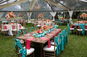 Bold Pink and Teal Tented Wedding Reception