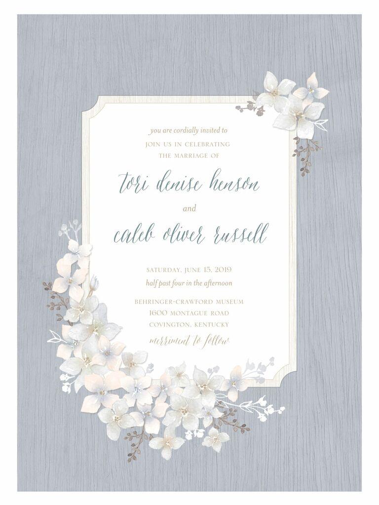 Shutterfly rustic floral spring wedding invitation