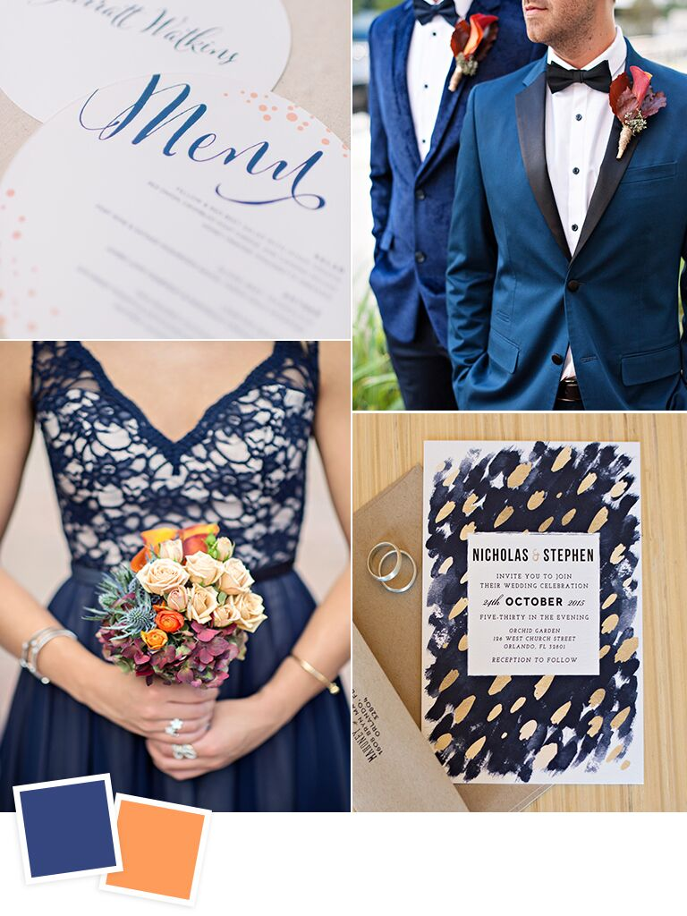 Navy and burnt orange fall wedding color ideas