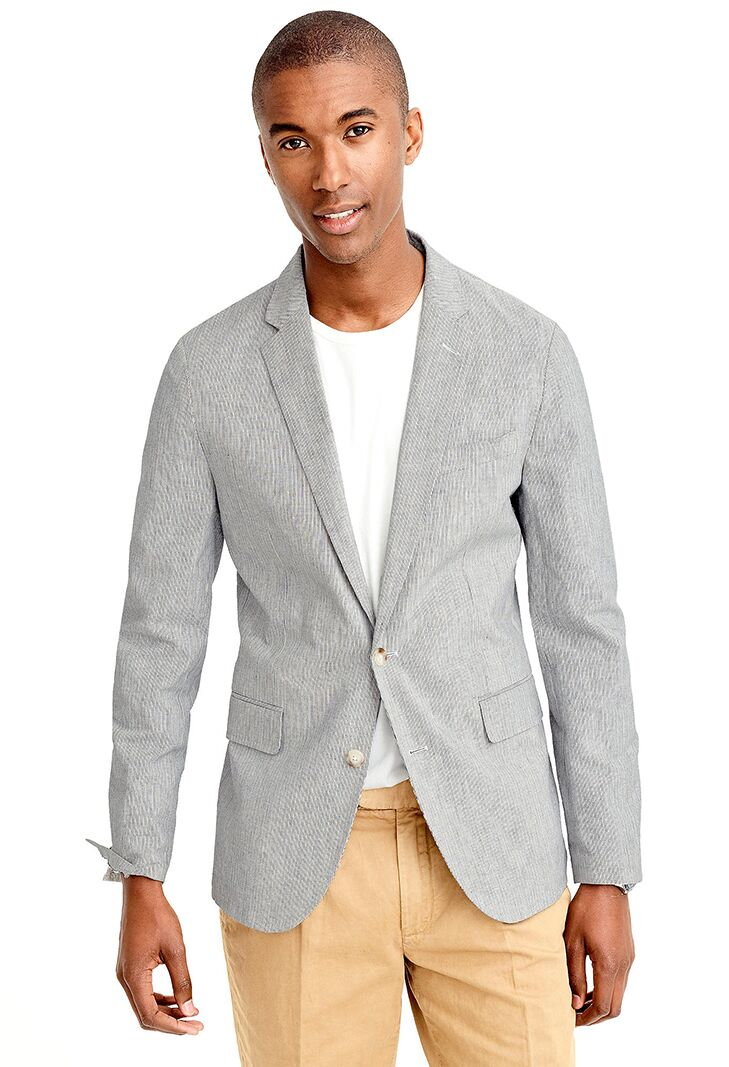 Cotton Linen Blazer Beach Wedding Attire For Men