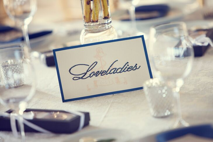 Monika handmade each of the table cards with hundreds of French blue Swarovski crystals. Each table was named after a different beach town on Long Beach Island.