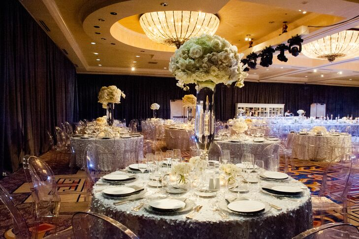 """Shelby and John held their wedding reception at the Four Seasons Hotel Austin in downtown Austin, Texas, because it was the place where they got engaged. """"It was the perfect destination since both of our families are from the city and we knew a lot of our out-of-town guests would be willing to travel to Austin,"""" the bride says."""