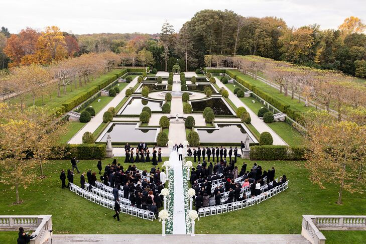 Glamorous  Garden Ceremony at Oheka Castle in Huntington, New York