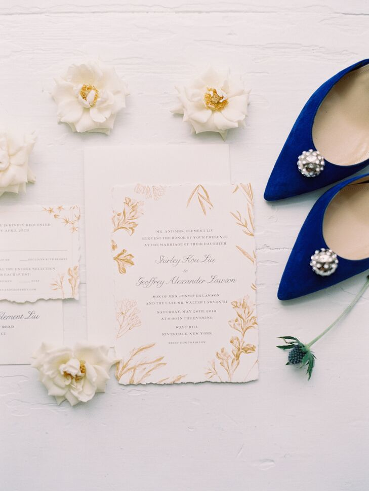 Gold Vintage Floral Wedding Invitations