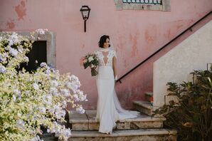 Modern Lace Wedding Dress and Classic Bouquet