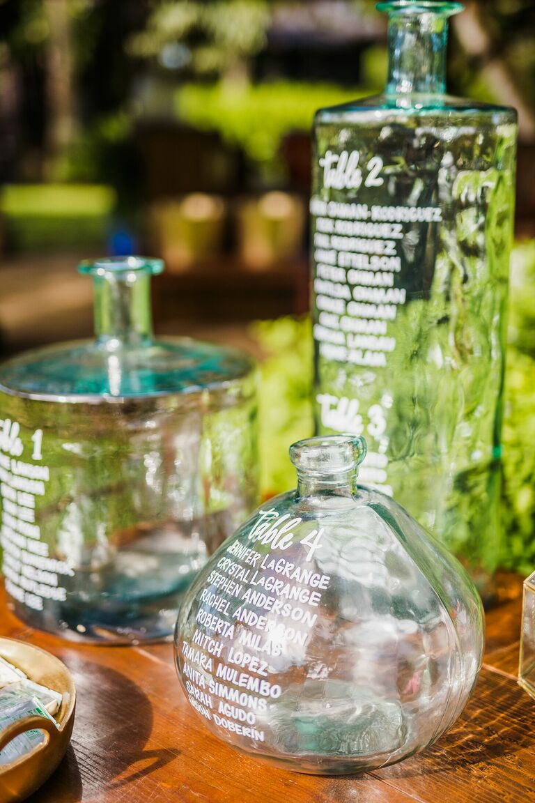 Glass bottle with calligraphy as seating chart