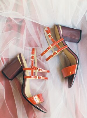 Red Patent Block Heels