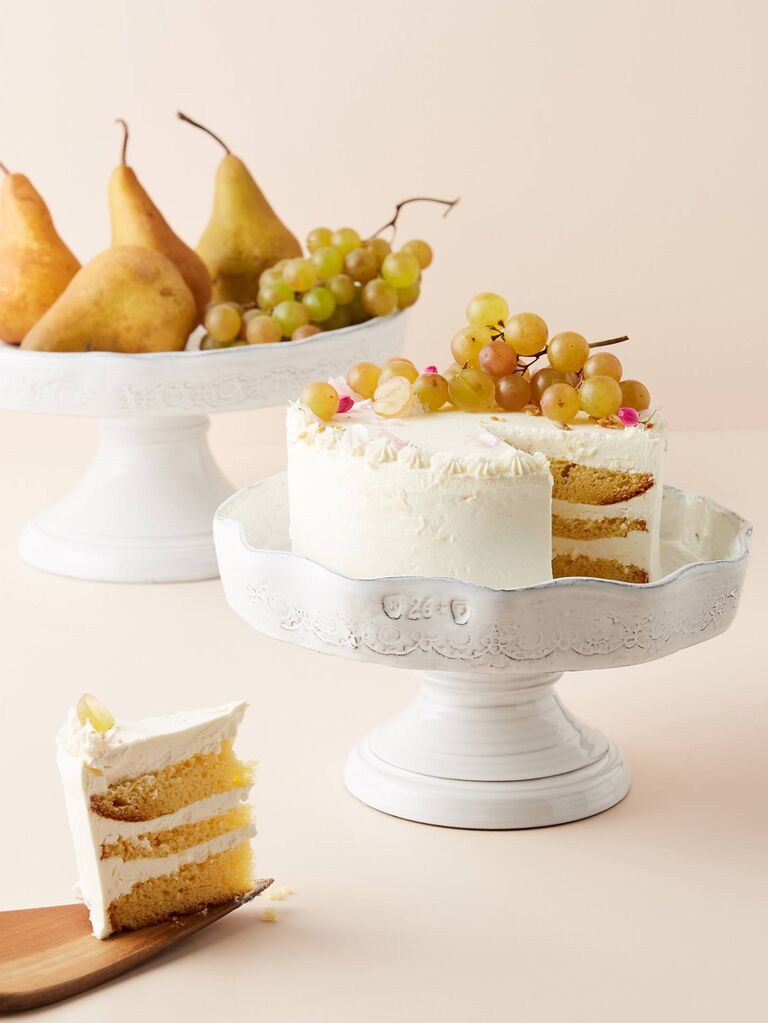 Shabby chic white floral cake stands in smaller and larger size