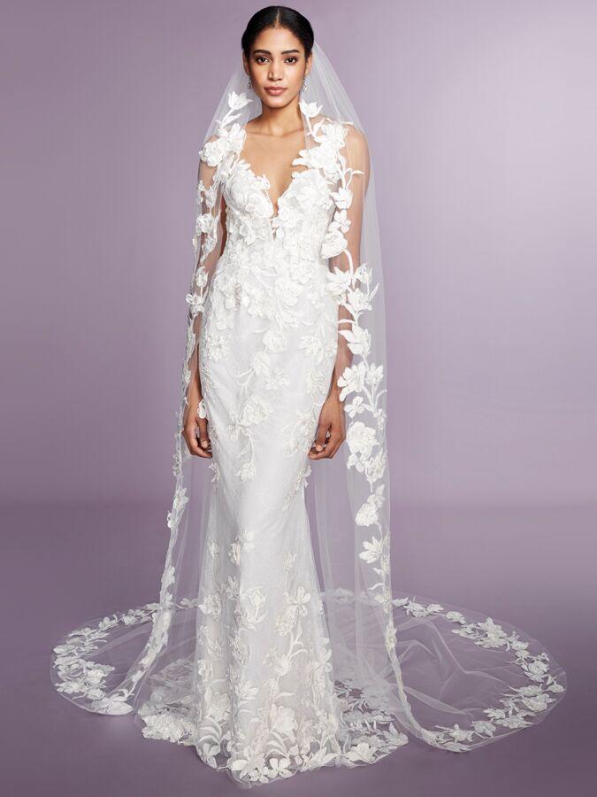 Marchesa Notte lace long sleeve wedding dress