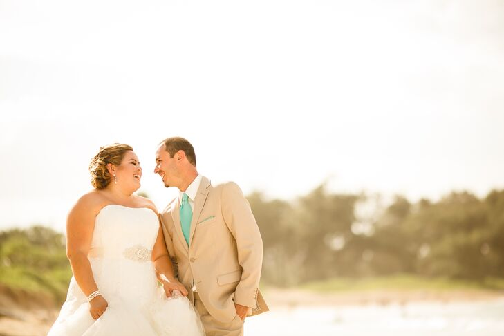 This island wedding took place steps from the waterfront at a family member's residence in Oahu, Hawaii, whi