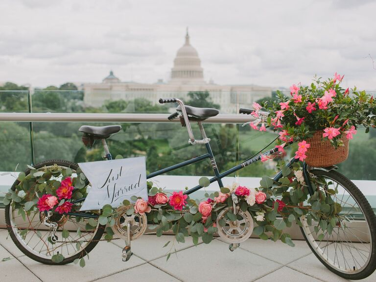 Bike covered in flowers in DC