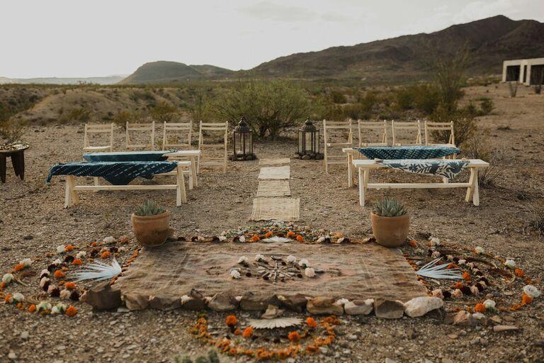 Outdoor wedding ceremony in a desert