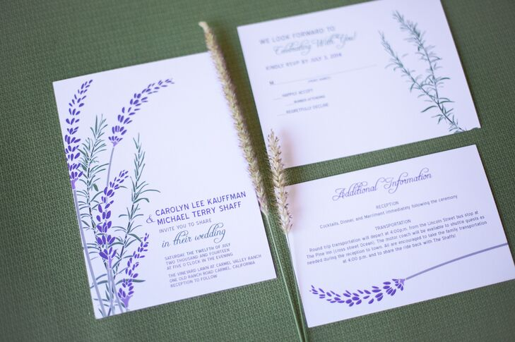 Lavender and Rosemary Wedding Invitations