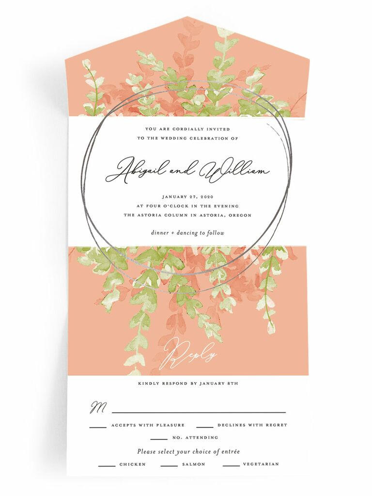 Minted pink and green spring wedding invitation