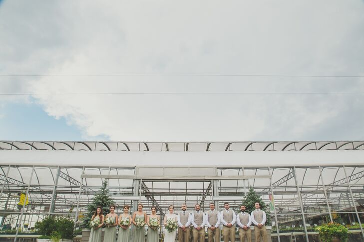 The wedding venue, owned by Natalie's aunt, was selected for its beautiful outdoor space, including a 12,000-square-foot greenhouse.