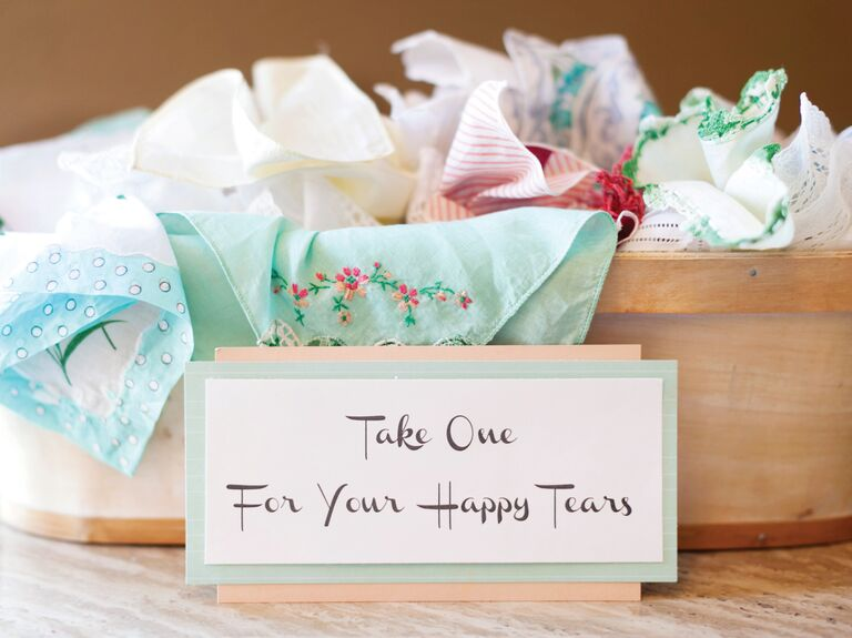 Embroidered handkerchiefs for happy wedding tears