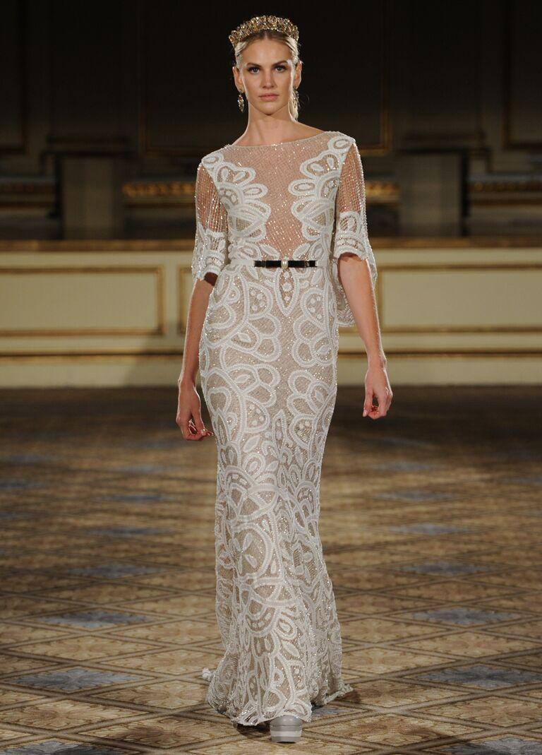0650f8012e26 Berta embellished netting lace wedding dress with silver-tone