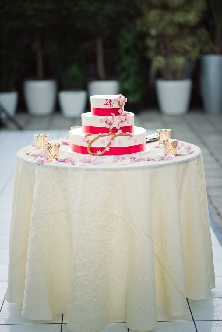 Red and White Wedding Cake from Jefferson Market