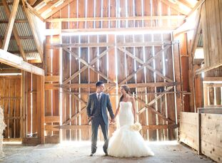 Logan Coutu (25 and a Spinning instructor) and Ryan Gray (25 and a front-desk supervisor) held their wedding at Bird's Eye Cove Farm in Duncan, Britis