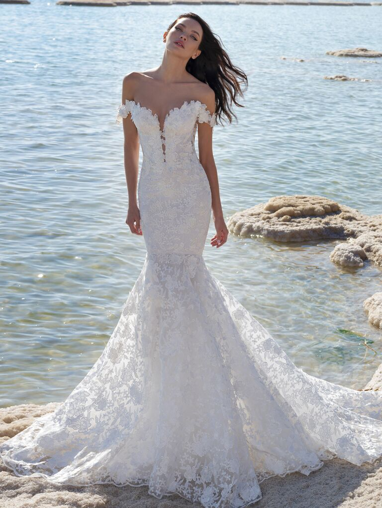 Pnina Tornai Spring 2020 Bridal Collection off-the-shoulder mermaid wedding dress with floral embroidery and ruffled neckline