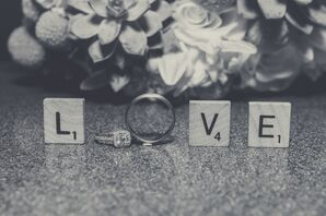 The Wedding Ring Takes its Place in Scrabble Letters Spelling 'Love'