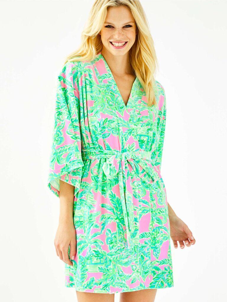 Green tropical bridal robe