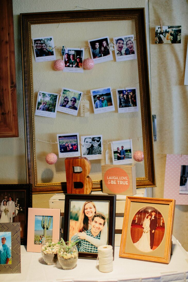 Deborah printed her Instagram photos to look like Polaroid photos and strung them into a vintage frame.