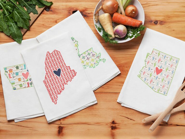 Hand towel adorned with different states with cute prints