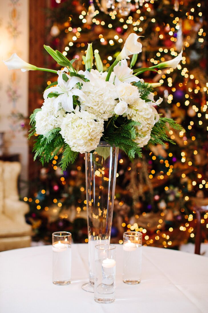 Towering White Hydrangea and Calla Lily Centerpieces