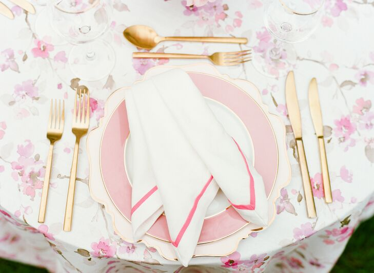 Preppy Pink Place Setting for Wedding in Potomac, Maryland