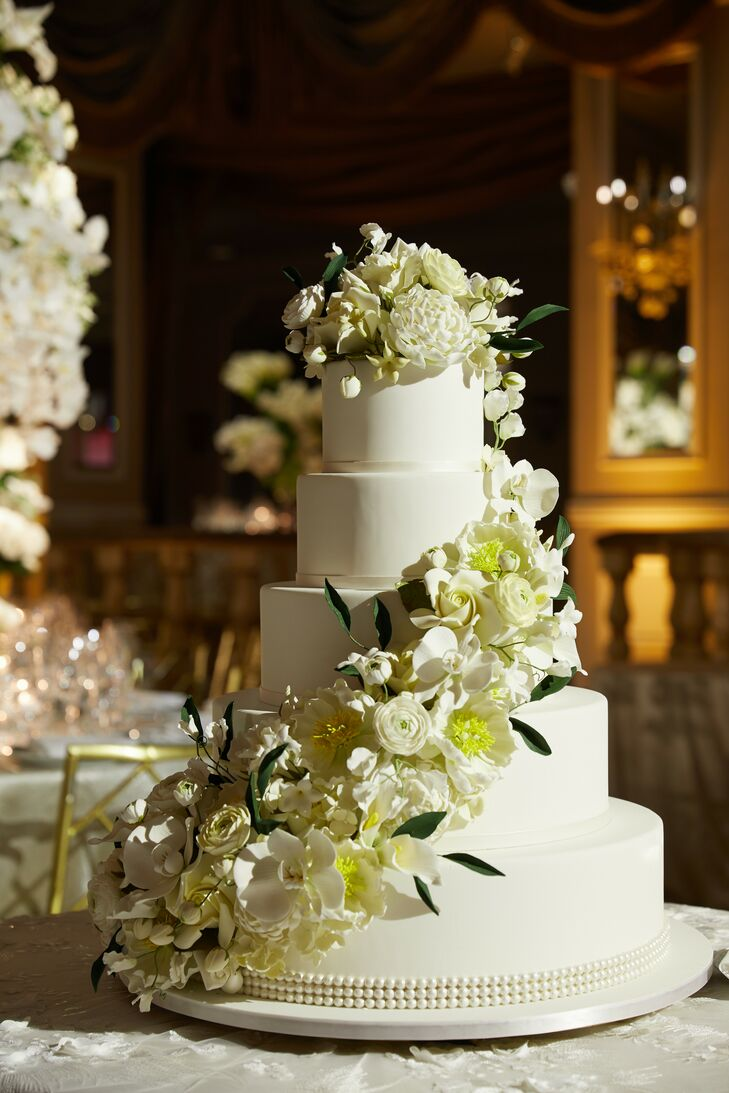 Over-the-Top Cake with White Flowers for Wedding at The Pierre in New York City