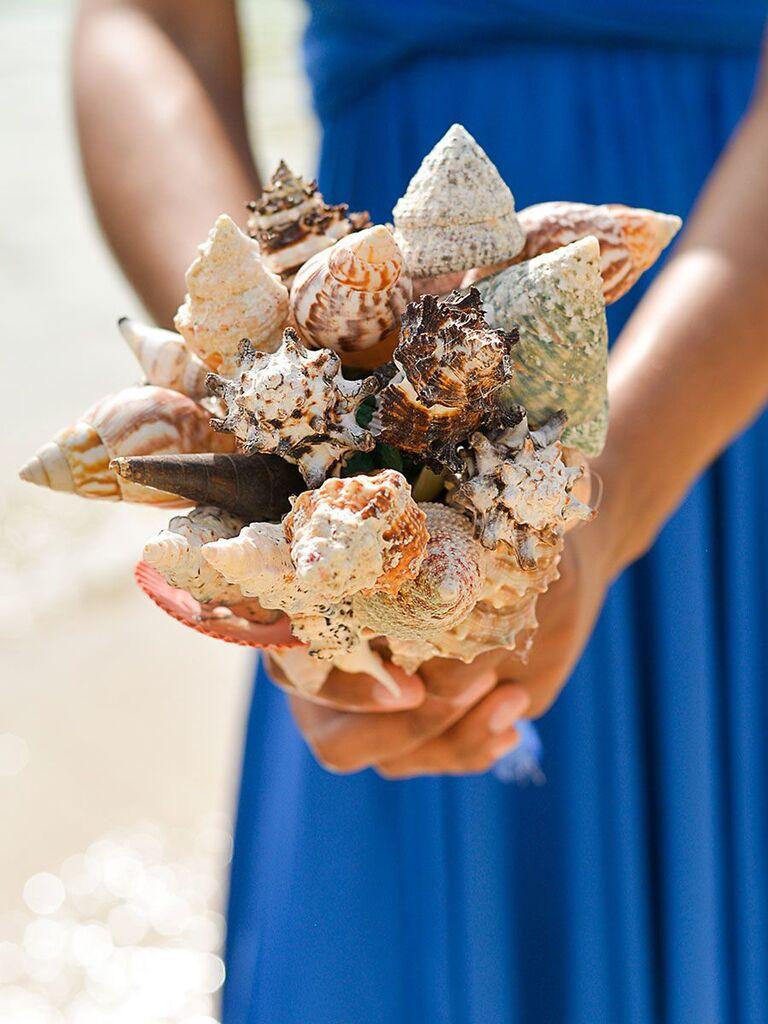 seashell unique wedding bouquet