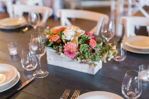 Rustic Dahlia, Moss and Rose Centerpieces