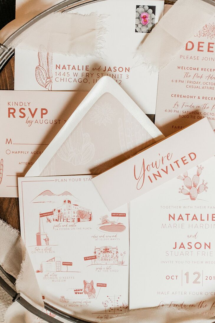 Romantic Invitations and Paper Goods with Pink Typography