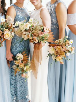 Toffee-Hued Bouquets and Blue Bridesmaid Dresses