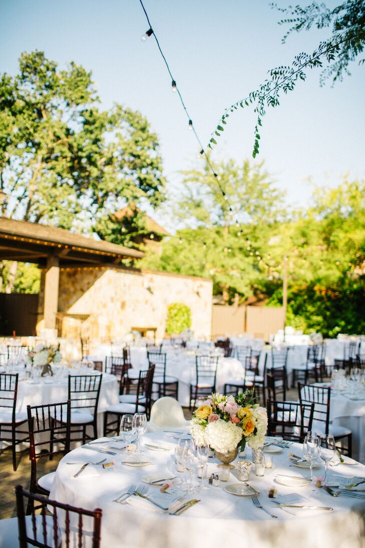 """In the lead-up to the wedding, Samantha learned to do calligraphy and crafted one-of-a-kind place settings for each guest. She also handcrafted gold-leaf bowls that held floating candles. """"I got the inspiration from Pinterest and thought it would create a soft, romantic glow and vibe for our guests,"""" Samantha says."""