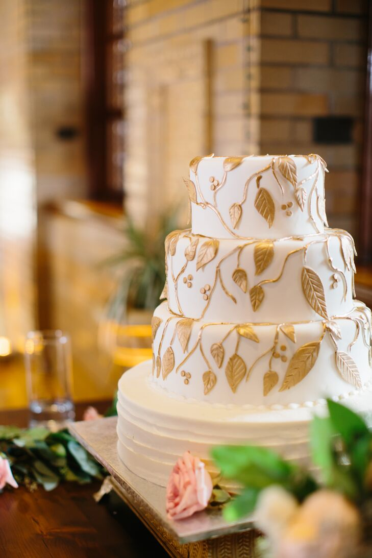 Fondant Gold Leaf Wedding Cake
