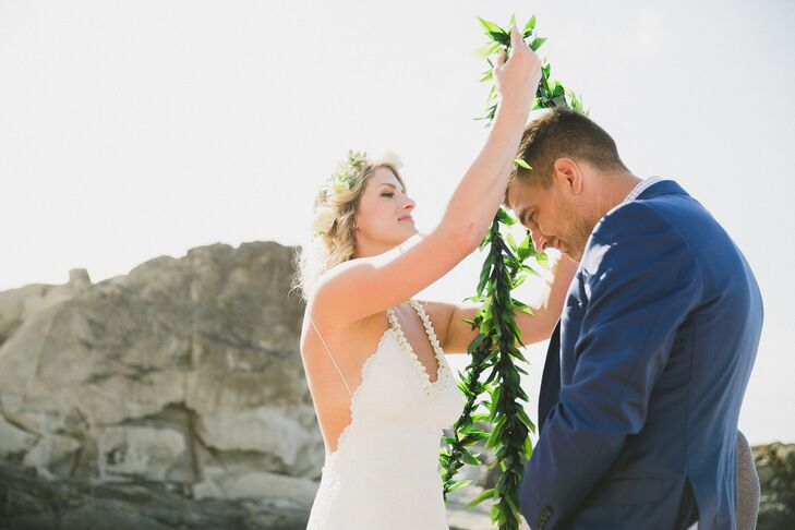 Tara and Matthew incorporated Hawaiian wedding traditions into their ceremony, including exchanging of leis.