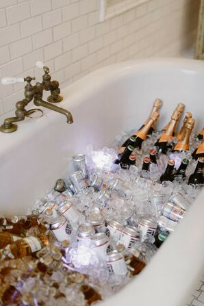Champagne Bathtub at Modern Loft Wedding in New York City
