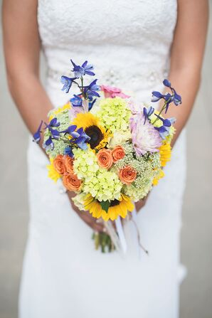 Colorful Bridal Bouquet With Sunflowers and Viburnum